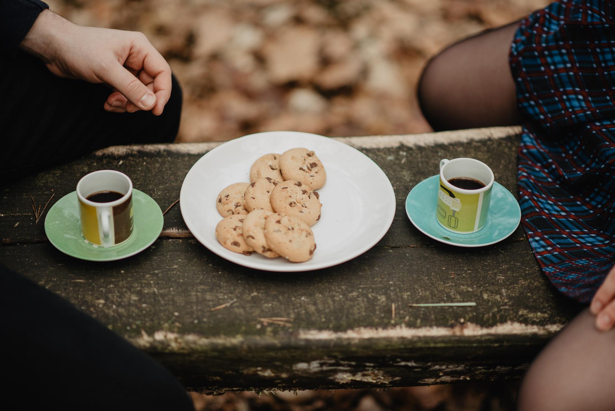 kawa i ciastka na pikniku